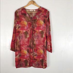 VTG Victoria Secret Silk Bohemian Tunic Sz S